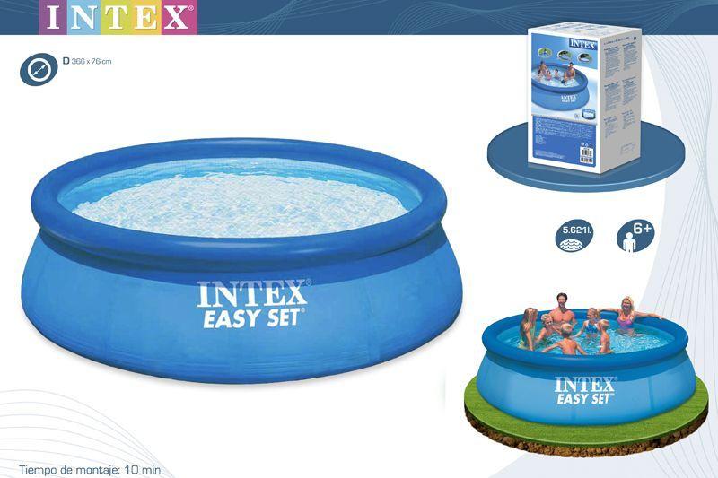 Piscina 366 x 76 cm hinchable redonda easy set ref intex for Depuradora para piscina hinchable