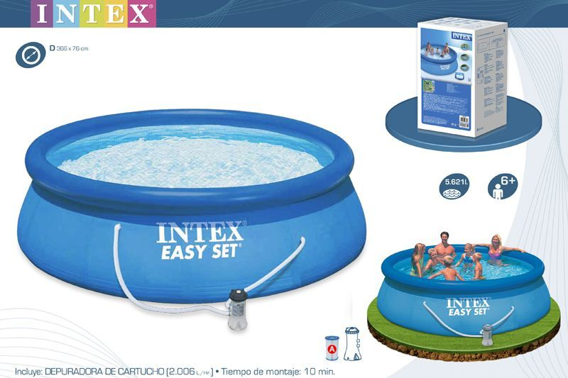 Piscina 366 x 76 cm hinchable redonda easy set ref intex 28132 - Depuradora piscina hinchable ...