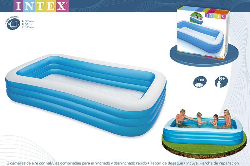 Piscina hinchable swim center 305x183x56 cm ref intex 58484 for Piscina hinchable rectangular