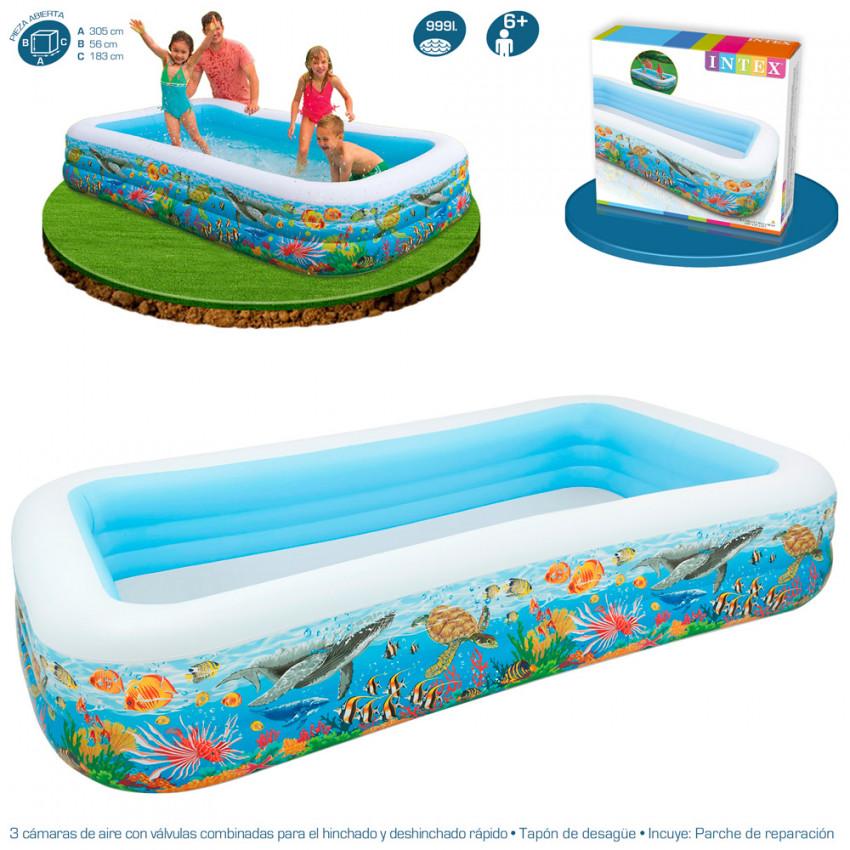 Piscina hinchable tropical swim center 305x183x56cm ref for Parches para piscinas intex