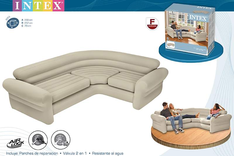 Sofa hinchable rinconero 257x203x76 cm ref intex 68575 for Sofa hinchable carrefour