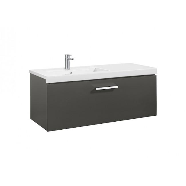 Mueble de baño + Lavabo izquierdo Roca Prisma 1Cajón 110cm Gris Antracita