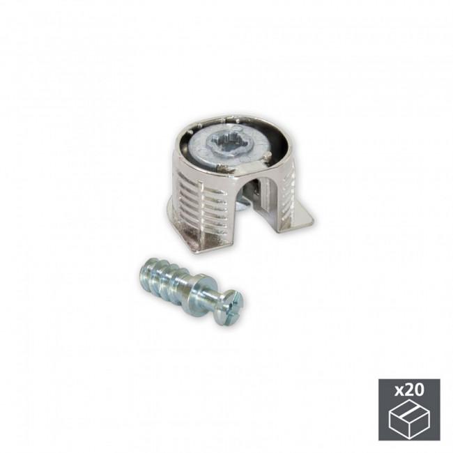 Kit cazoleta de unión Fix D. 20 x 12 5 mm y pernos D. 6 mm Emuca Perno Ø 6 x 11 mm Niquelado 20 Juegos