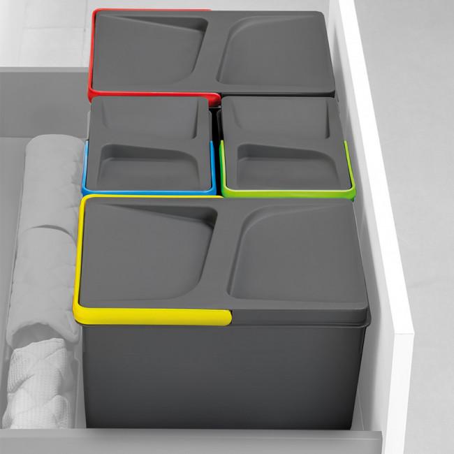 Juego de contenedores con base Recycle para cajón cocina Emuca H 216 x M 900 Gris antracita