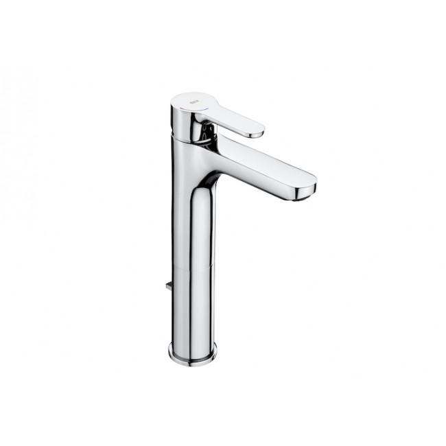 Grifo de lavabo monomando de caño alto con desagüe automático cromo L20 Roca