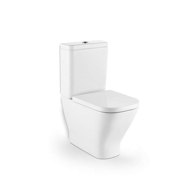 Inodoro Roca The Gap Square Rimless entrada lateral con asiento