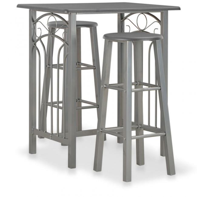 Set mesa y sillas altas de cocina 3 pzas madera acero antracita