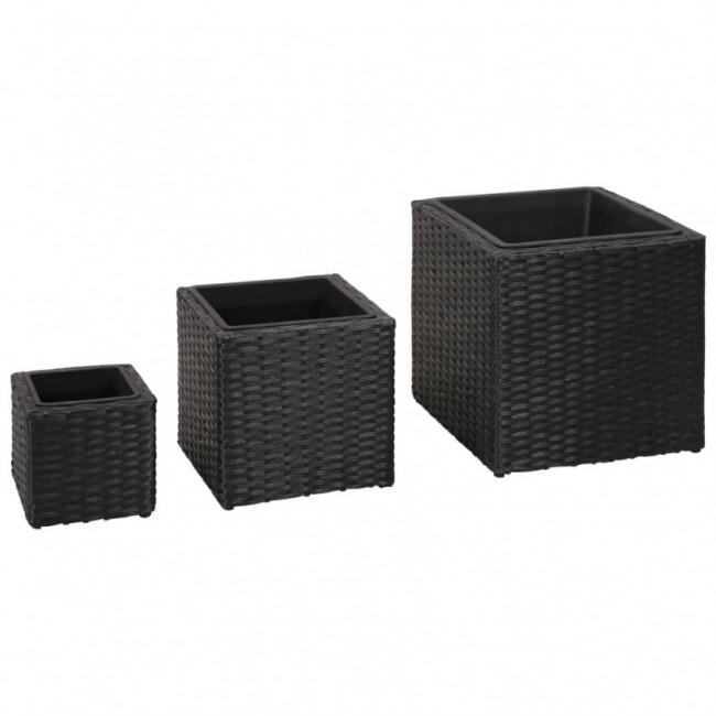 Jardinera cuadrada de ratán set de 3 piezas negro