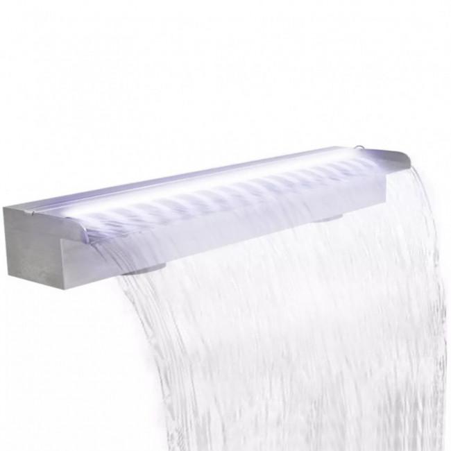 Fuente rectangular con LEDs para piscina, Acero inoxidable, 90 cm
