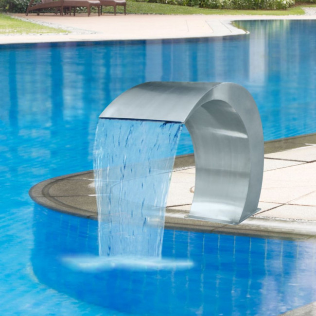 Fuente cascada para piscina de acero inoxidable 45x30x60 cm