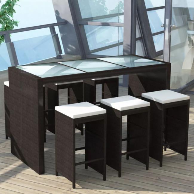 Mesa y sillas bar de jardín 7 pzas y cojines poli ratán marrón