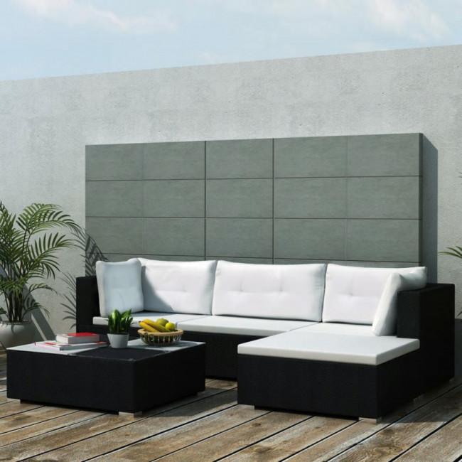 Conjunto de sofás de jardín 14 piezas poli ratán negro