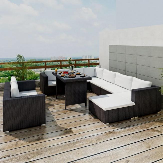 Conjunto de muebles de exterior 28 piezas negro poli ratán