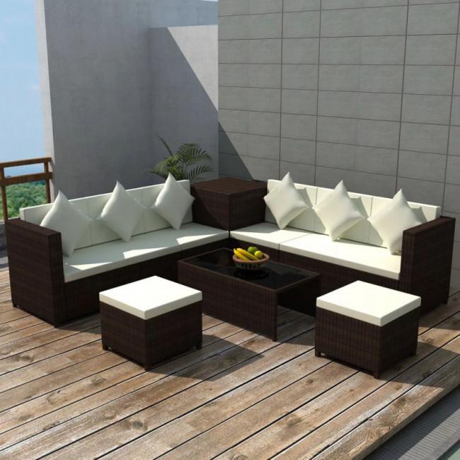 Conjunto de sofá de jardín de ratán sintético marrón 26 piezas