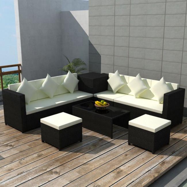 Conjunto de sofá de jardín de ratán sintético negro 26 piezas