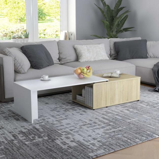Mesa de centro de aglomerado blanco y roble Sonoma 150x50x35 cm