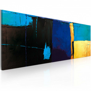 Cuadro pintado - La fascinación por el color azul 100x40 CM