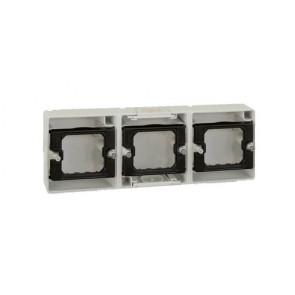 Base superficie caja estanca 3 elementos horizontal Simon 44 Aqua gris