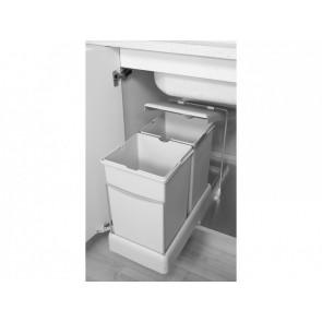 Contenedores de reciclaje de fijación inferior y extracción automática con 2 cubos de 14 litros Emuca 2 x 14 litros Gris
