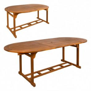 Mesa ovalada extensible en madera acacia
