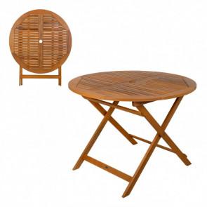 Mesa redonda plegable madera de acacia Garden 100x74 cm Aktive 61029