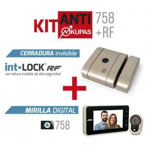 Kit Antiokupas mirilla digital 758 y Cerradura RF Niquel AYR