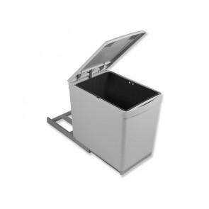 Contenedor de reciclaje de fijación inferior y extracción manual con 1 vaso de 16 litros y tapa automática Emuca 1 x 16 litros Gris