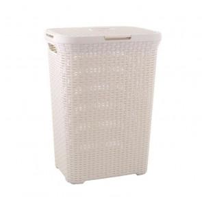 Caja de lavandería CURVER 40 L - aspecto ratán - blanco marfil - con asas y tapa con clip