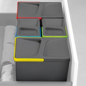 Juego de contenedores con base Recycle para cajón cocina Emuca H 266 x M 900 Gris antracita