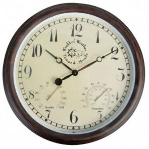 Esschert Design Reloj con termo higrómetro 30,5 cm TF008