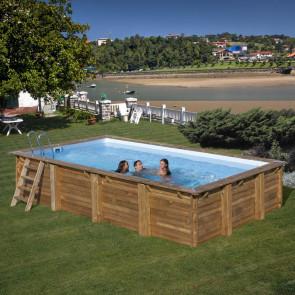 Piscina de madera rectangular Gre Evora 620 x 420 x 133 cm