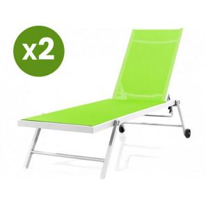 Tumbonas en textileno y aluminio Jolia - Phoenix - Lote de 2 - Verde/Blanco