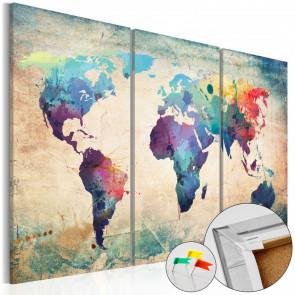 Tablero de corcho - Rainbow Map  120x80 CM