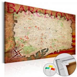 Tablero de corcho - Map of Barcelona  90x60 CM