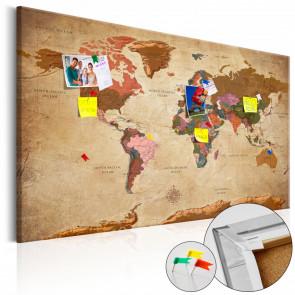 Tablero corcho World Map Brown Elegance 120x80