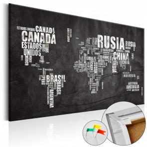 Tablero de corcho - Mundo Negro  60x40 CM