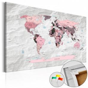 Tablero de corcho - Pink Continents  90x60 CM
