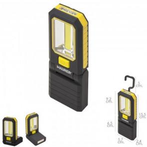 Linterna led magnetica 3 watt. 210 lumenes / 20 lumenes plegable con gancho