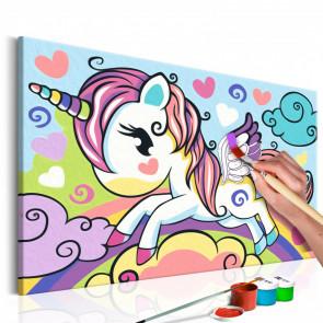 Cuadro para colorear - Unicornio de colores 33x23 CM
