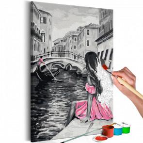 Cuadro para colorear - Venecia (chica del vestido rosa) 40x60 CM