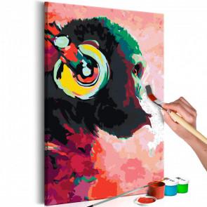 Cuadro para colorear - Mono con auriculares 40x60 CM