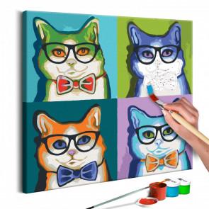 Cuadro para colorear - Gatos de gafas 40x40 CM