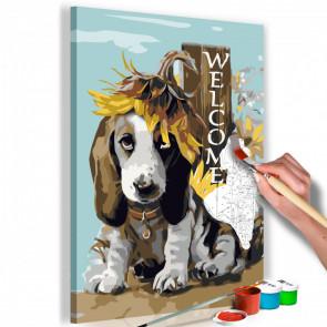 Cuadro para colorear - Dog and Sunflowers 40x60 CM