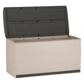 PLASTIKEN 350L Caja con cerradura funcional y estética interior / exterior con ruedas beige y gris oscuro