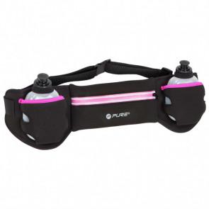 Pure2Improve Cinturón de running con 2 bidones negro y rosa