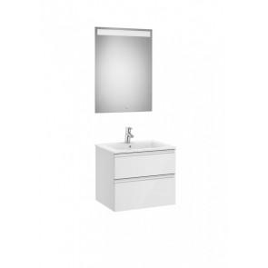 Conjunto mueble de dos cajones de lavabo central y espejo Eidos 600x460 The Gap Roca
