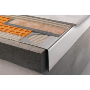 Perfil vierteaguas en escuadra metálico Schlüter gris metal