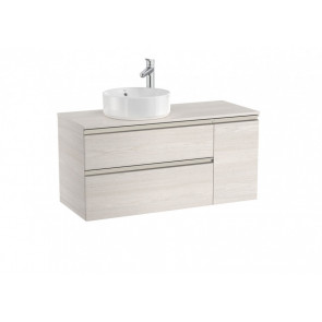 Mueble base Roca the Gap de dos cajones para lavabo de sobre encimera izquierda 110cm fresno nórdico