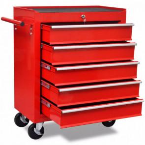 Carrito de herramientas rojo de 5 cajones