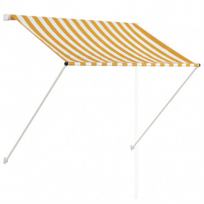 Toldo retráctil amarillo y blanco 100x150 cm